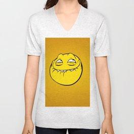 Meme Face Smiley Emoticon Yelow Funny Head Troll Unisex V-Neck