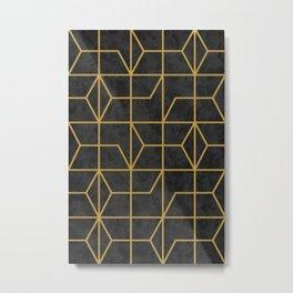 Geometric Seamless Black Gold Vintage Pattern (Style of 1920s) III Metal Print
