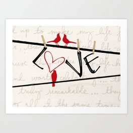 Love Letters Red Bird Clothesline A713 Art Print
