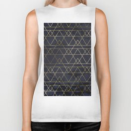 Modern Deco Gold and Marble Geometric Mountains on Navy Blue Biker Tank
