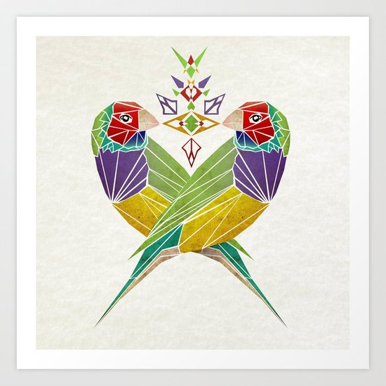 colors birds Art Print