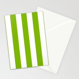 Microsoft green - solid color - white vertical lines pattern Stationery Cards