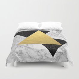 Marble Tri Black & Gold - gold foil, gold, marble, black and white, trendy, luxe, gold phone Duvet Cover