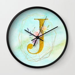 Gold Foil Alphabet Letter J Initials Monogram Frame with a Gold Geometric Wreath Wall Clock