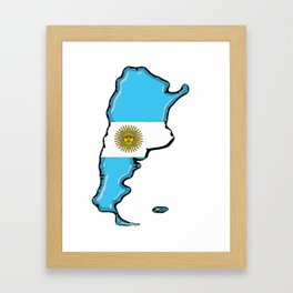 Argentina Map with Argentinian Flag Framed Art Print