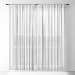 Mattress Ticking Narrow Striped Pattern in Charcoal Grey and White Sheer Curtain