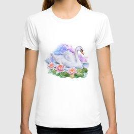 Watercolor Lotus Swan T-shirt