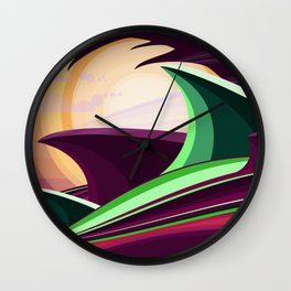 The Wave and The Dragon Wall Clock