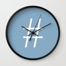 number sign on placid blue color background Wall Clock