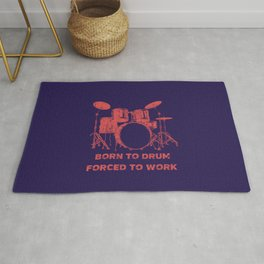 Born To Drum Forced To Work Funny Drums Vintage Drummer Distressed Rug