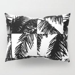 Palm Leaf Pattern Black Pillow Sham