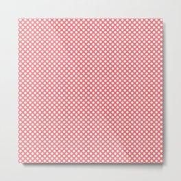 Sugar Coral and White Polka Dots Metal Print