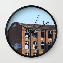Girl on the Roof - Lost Places Wall Clock