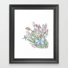 Watercolour, flowers and butterflies  Framed Art Print