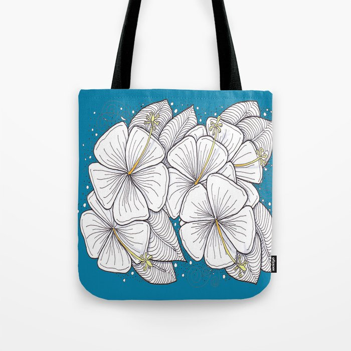 Zentangle Blue and Gold Hibiscus Blossoms for Flower Lovers Tote Bag