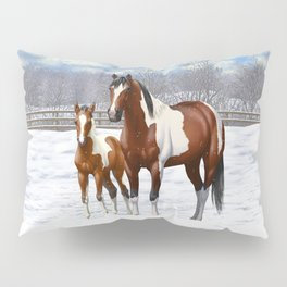 Bay Paint Horse Mare and Foal In Winter Pillow Sham