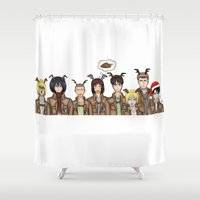 levi Shower Curtains featuring Christmas with Squad Levi 2.0 by PaigeAWArt