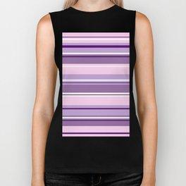 Mixed Striped Design Pinks Purples White Biker Tank