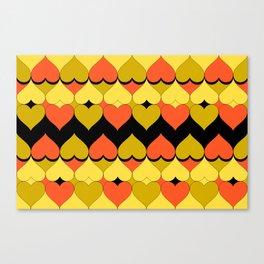 Multi Hearts Chartreuse Tangerine Black Canvas Print