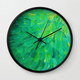 SEA SCALES in GREEN - Bright Green Ocean Waves Beach Mermaid Fins Scales Abstract Acrylic Painting Wall Clock
