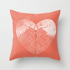 Love birds sitting on a tree Throw Pillow