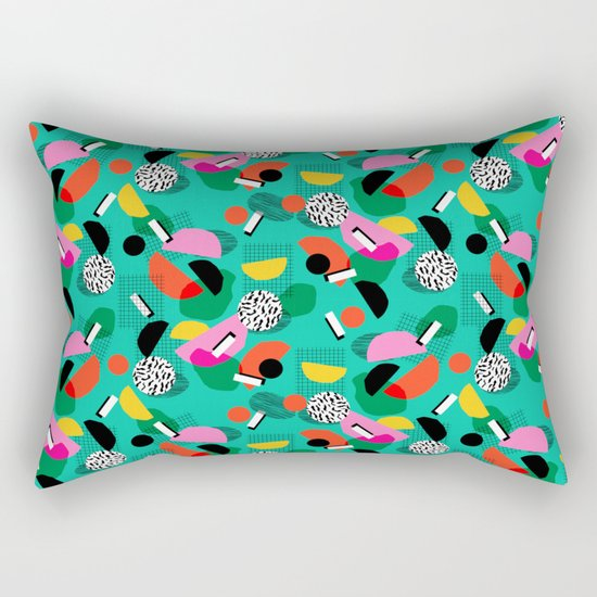 Flange - memphis inspired pop art retro throwback 1980s neon style art print decor hipster socal Rectangular Pillow