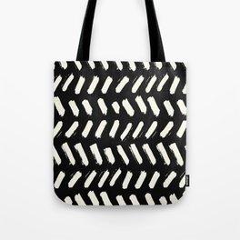 Tribal Dance Dot - Ivory on Black Tote Bag
