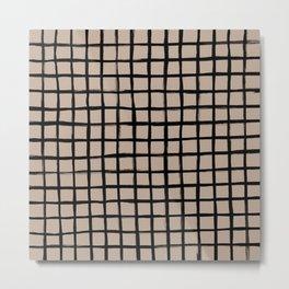 Strokes Grid - Black on Nude Metal Print