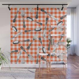 Utensils on Orange Picnic Blanket Wall Mural