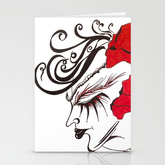 A Flowered Face Stationery Cards