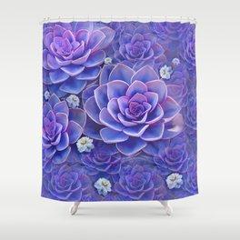 """""""Bouquet of pastel violet exotic succulents"""" Shower Curtain"""