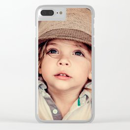 Child Looking up Girl Hat Vintage Portrait Clear iPhone Case