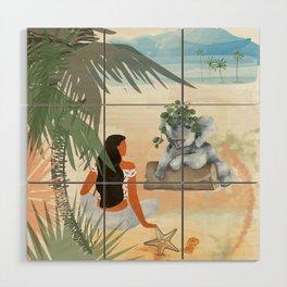 Girl on the Beach Wood Wall Art