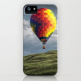 Hot Air Balloons over Green Fields iPhone Case