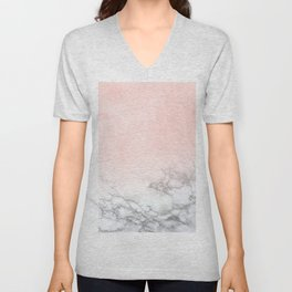 Blush Pink on White and Gray Marble III Unisex V-Neck