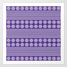 Purple and White Horizontal Stripes and Circles - Purple Series Art Print