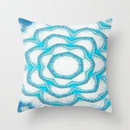 Cyan Glow Kaleidoscope 18 Throw Pillow