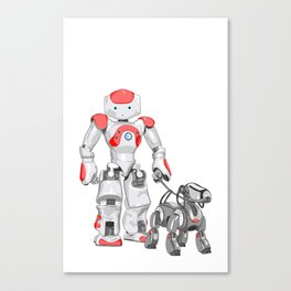 The Dog Walker. (Red) Canvas Print