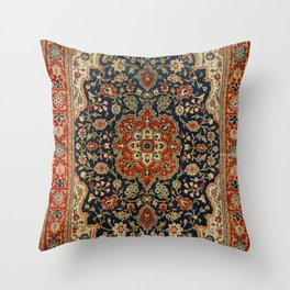 Central Persia 19th Century Authentic Colorful Dark Blue Red Tan Vintage Patterns Throw Pillow