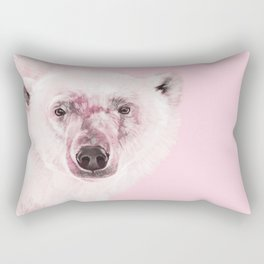 Polar Bear in Pink Rectangular Pillow
