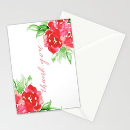 Watercolor Rose Thank You Stationery Cards