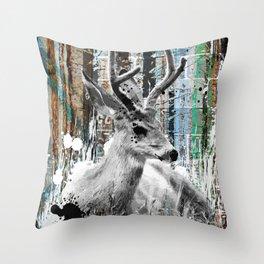 Deer in the Industrial Woods Throw Pillow