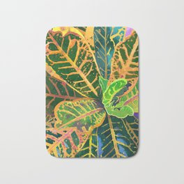 Yellow Croton Tropical Plant Leaves   Modern Garden Art Print Bath Mat