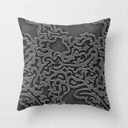 Floral embossing - chrome Throw Pillow