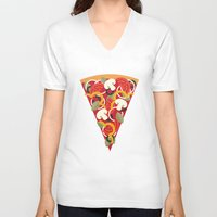miles davis V-neck T-shirts featuring PIZZA POWER - VEGO VERSION by Daisy Beatrice