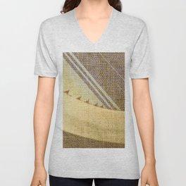 Agave Cactus on burlap cloth Unisex V-Neck