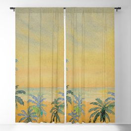 Dreamy Sunset - Tropical Watercolor with Palm Trees in Yellow and Orange Blackout Curtain