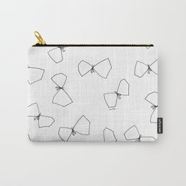 We Are Free - minimalist drawing butterfly black and white illustration Carry-All Pouch