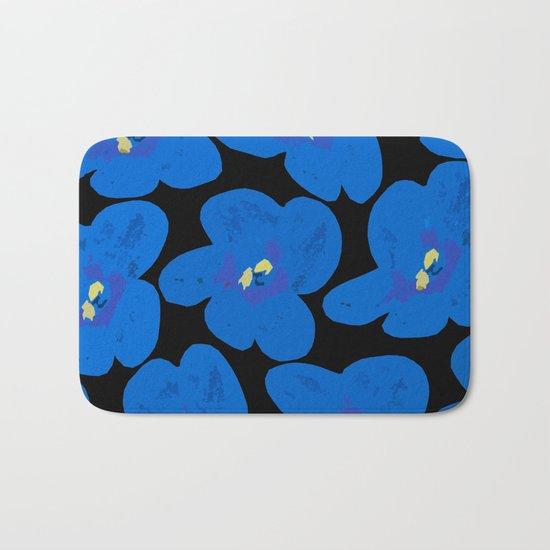 Blue Retro Flowers on Black Background Bath Mat