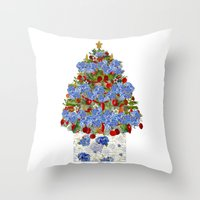 cape cod Throw Pillows featuring A Cape Cod Christmas by KarenHarveyCox